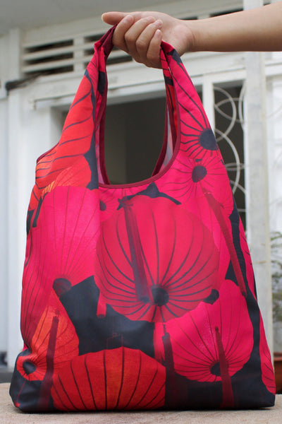 Red Lantern Foldable Tote Bag-CUSHnART-Temples and Markets