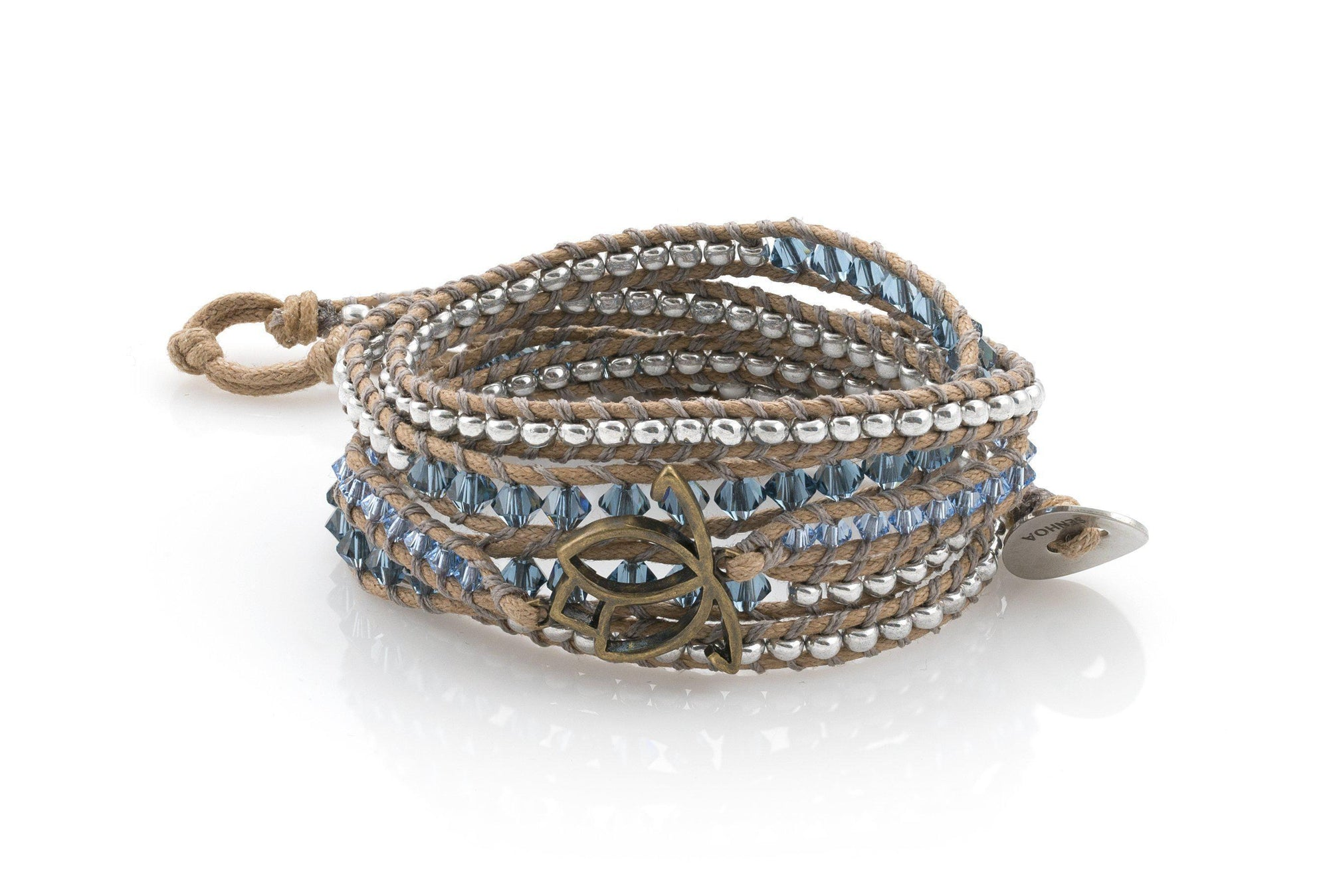 Senhoa Chance Luxe Bracelet with Brass Lotus Charm and Swarovski Crystals-Senhoa-Temples and Markets