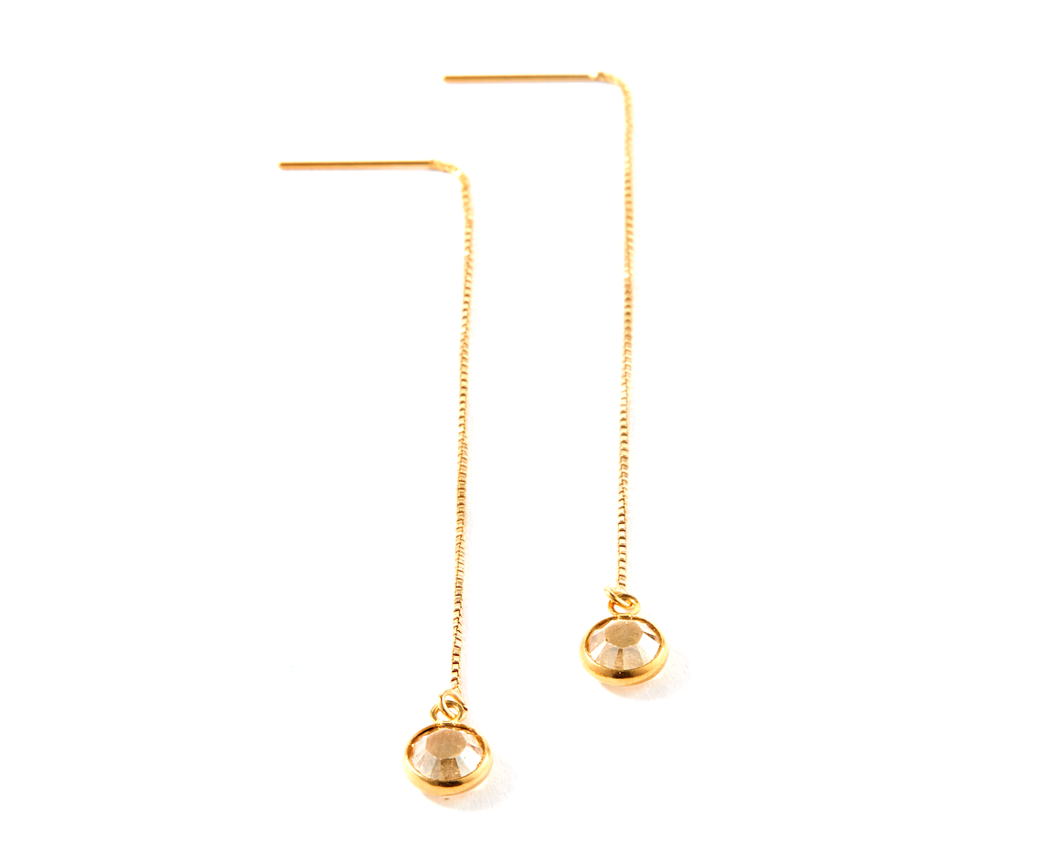 Senhoa Purity Gold Threader Drop Earrings with Swarovski Crystals-Senhoa-Temples and Markets