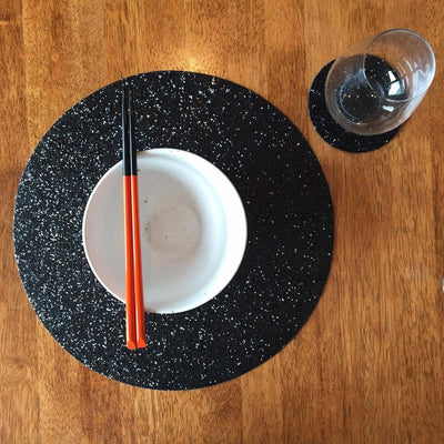 Shimmery Black Round Placemat-ML Living-Temples and Markets