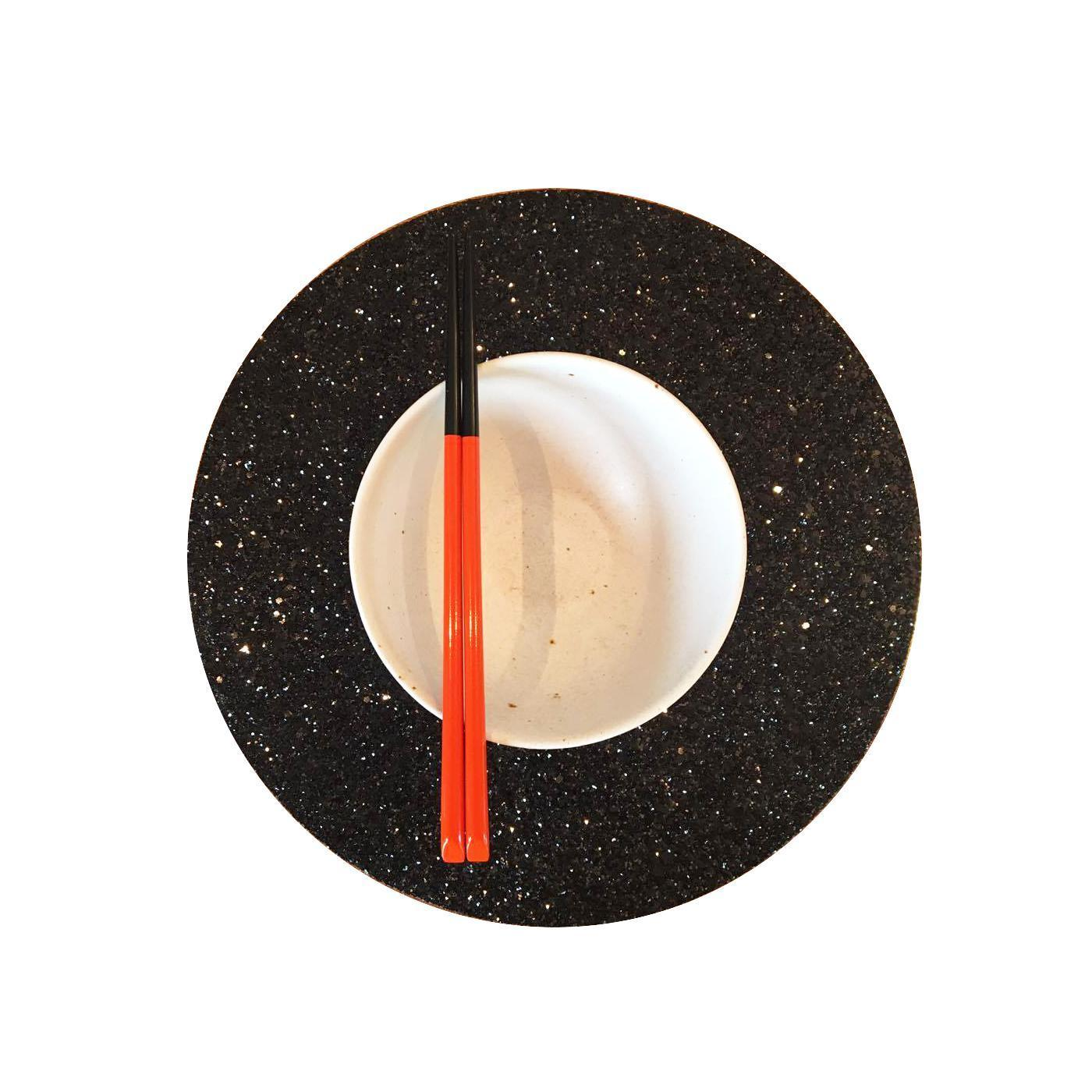 Shimmery Black Round Placemat