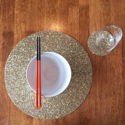 Shimmery Gold Round Place Mat-ML Living-Temples and Markets
