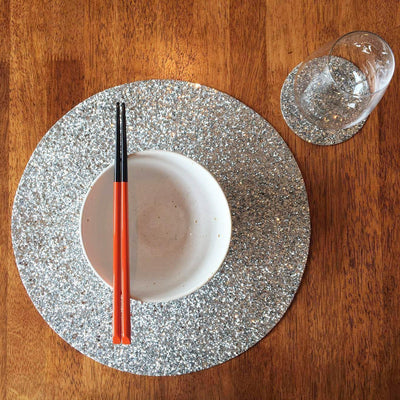 Shimmery Light Silver Round Place Mat-ML Living-Temples and Markets