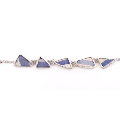 Sterling Silver Ceramic Blue and White Bracelet-Future Traditions-Temples and Markets