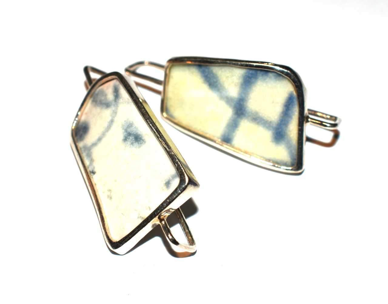 Sterling Silver Ceramic Blue and White Drop Earrings - Long Length