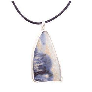 Sterling Silver Ceramic Blue and White Long Pendant-Future Traditions-Temples and Markets