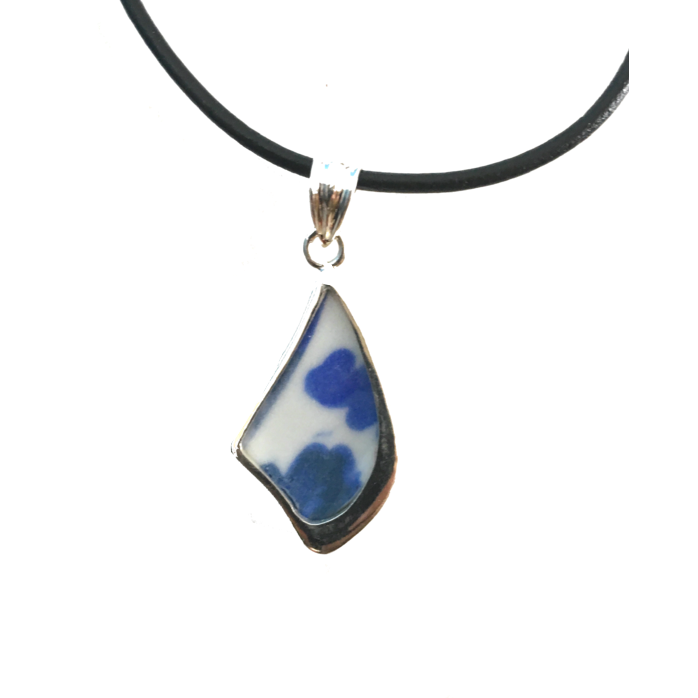 Sterling Silver Ceramic Blue and White Medium Sized Diamond Shaped Pendant-Future Traditions-Temples and Markets