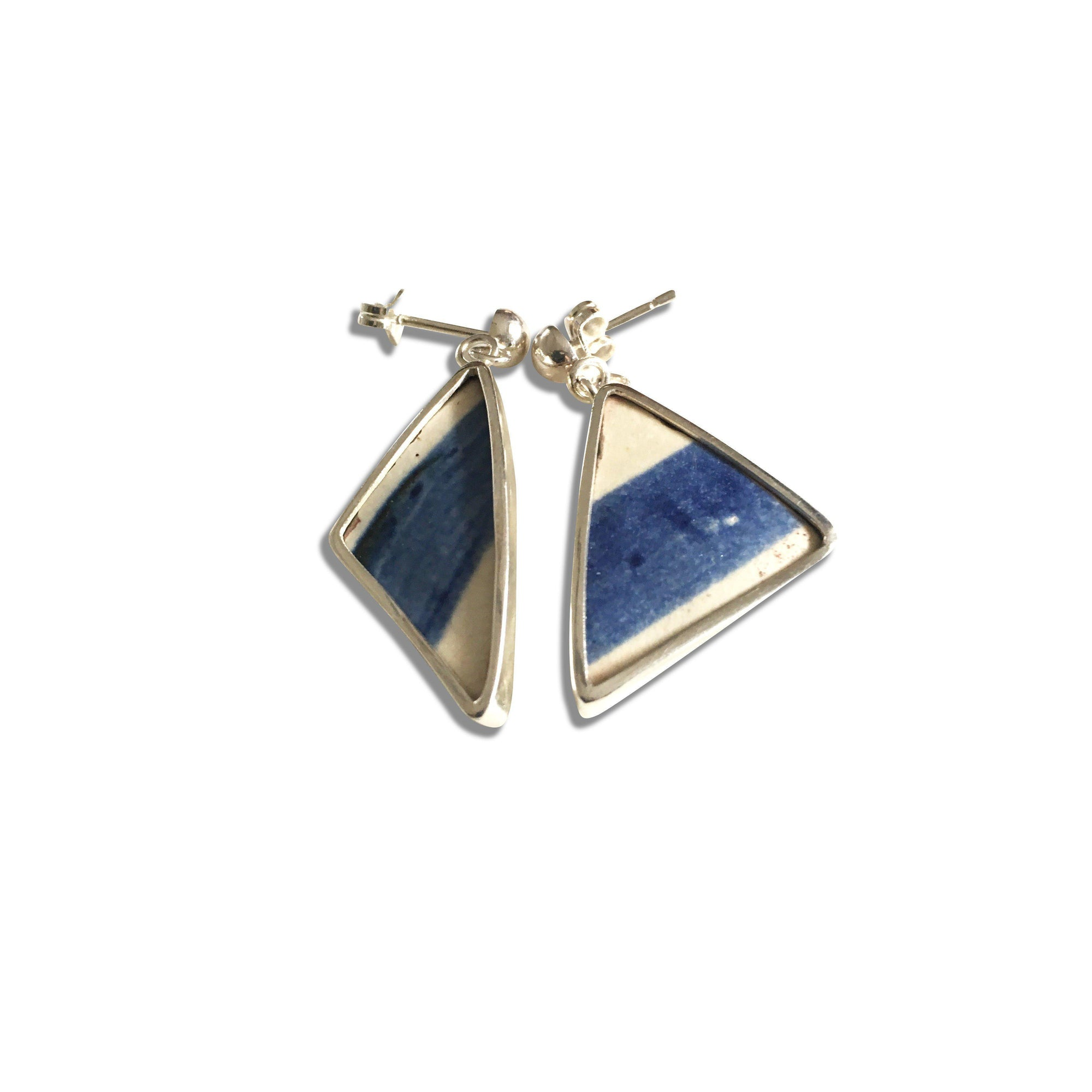 Sterling Silver Ceramic Blue and White Triangle Drop Earrings-Future Traditions-Temples and Markets