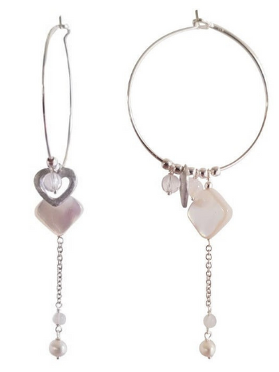 Sterling Silver Hoop Earrings with Hearts and Stones-LOVEbomb-Temples and Markets