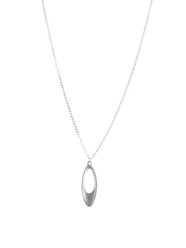Sterling Silver Short Necklace with Oval Cut Out Pendant-LOVEbomb-Temples and Markets