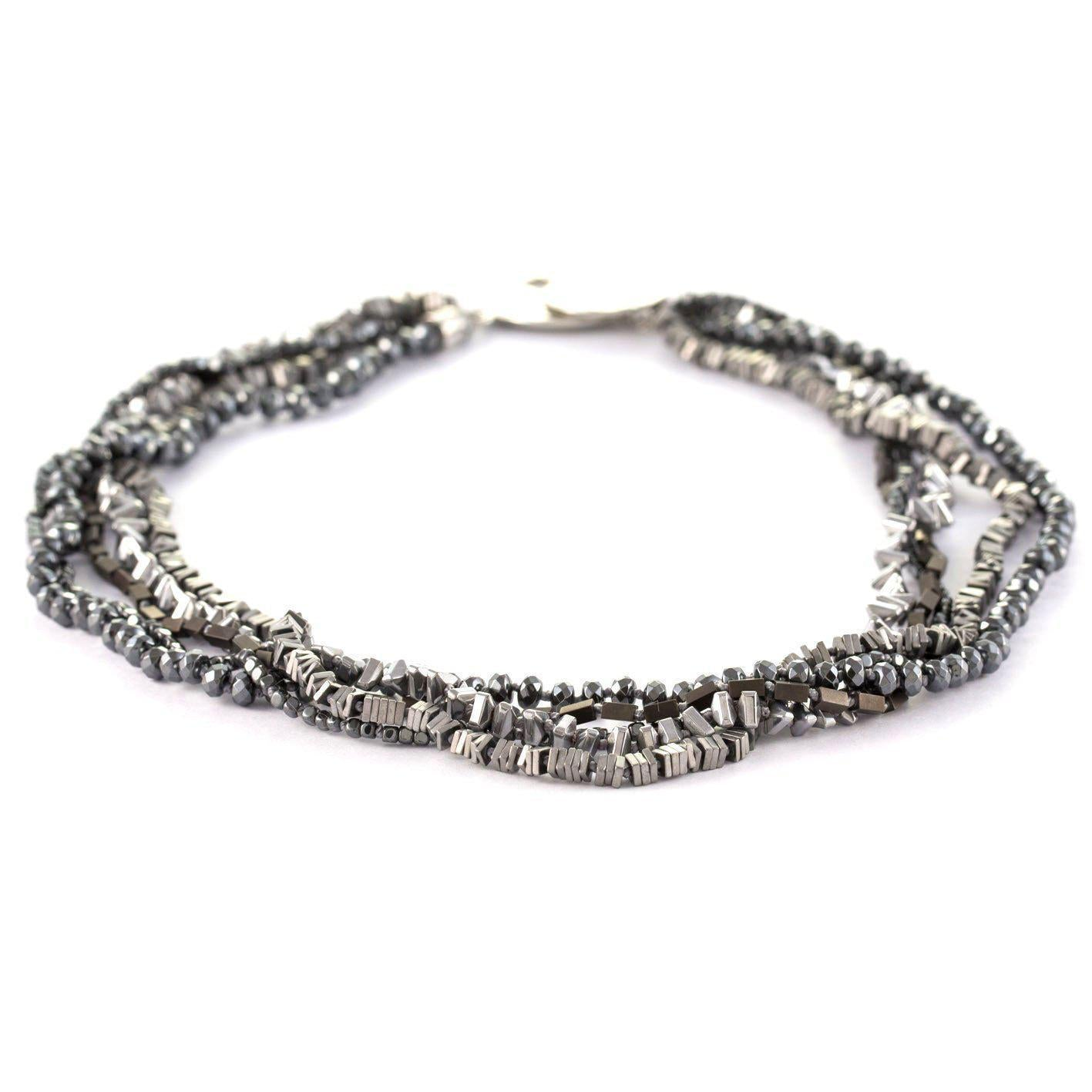 Stones that Rock Cameron Multi-Strand Hematite Short Necklace-Stones that Rock-Temples and Markets