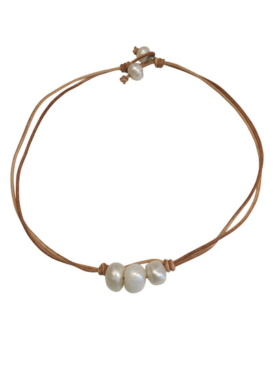 Stones that Rock Maxim Leather and Freshwater Pearl Short Necklace-Stones that Rock-Temples and Markets