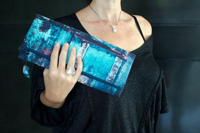 Teal Wall Evening Clutch Bag-CUSHnART-Temples and Markets