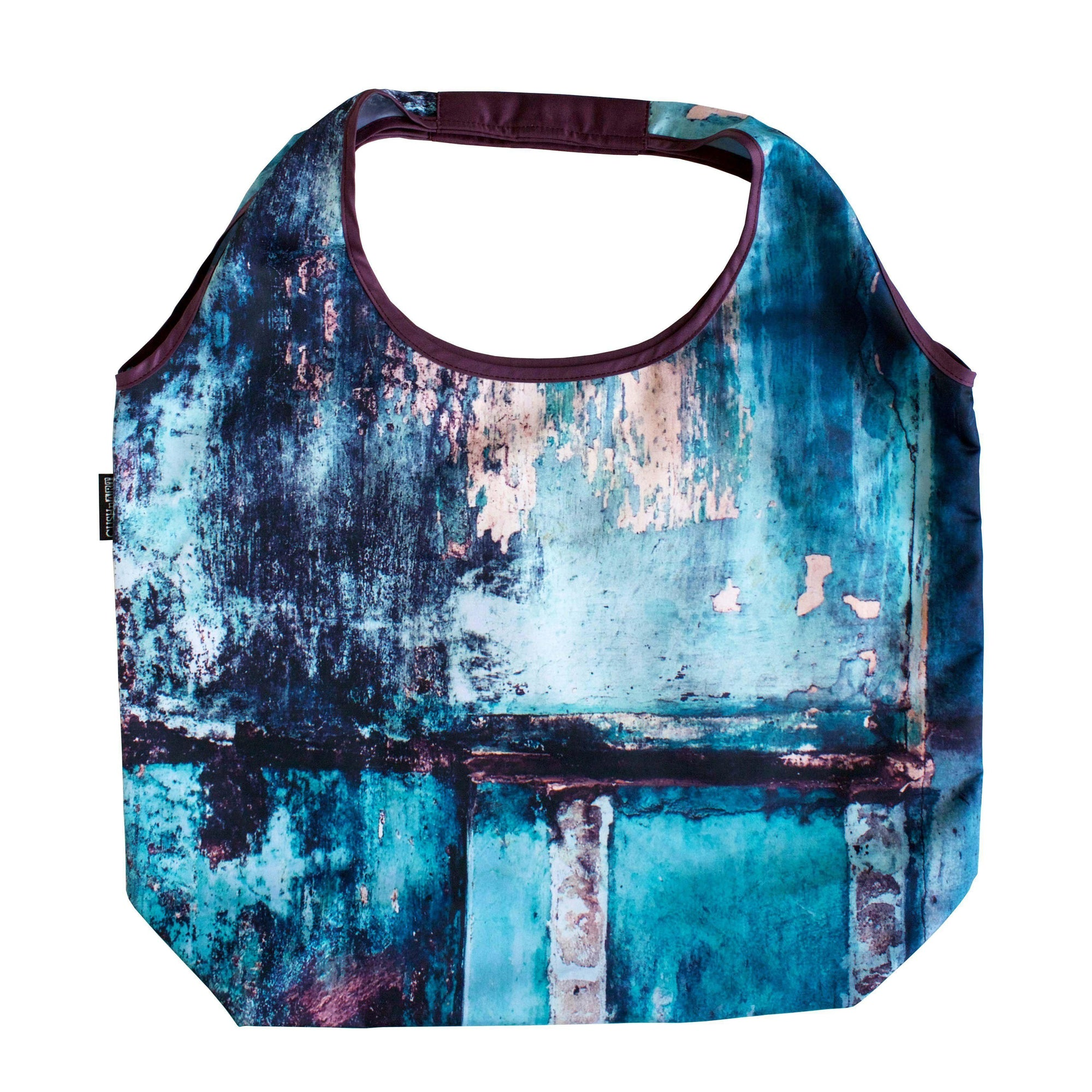 Teal Wall Foldable Tote Bag