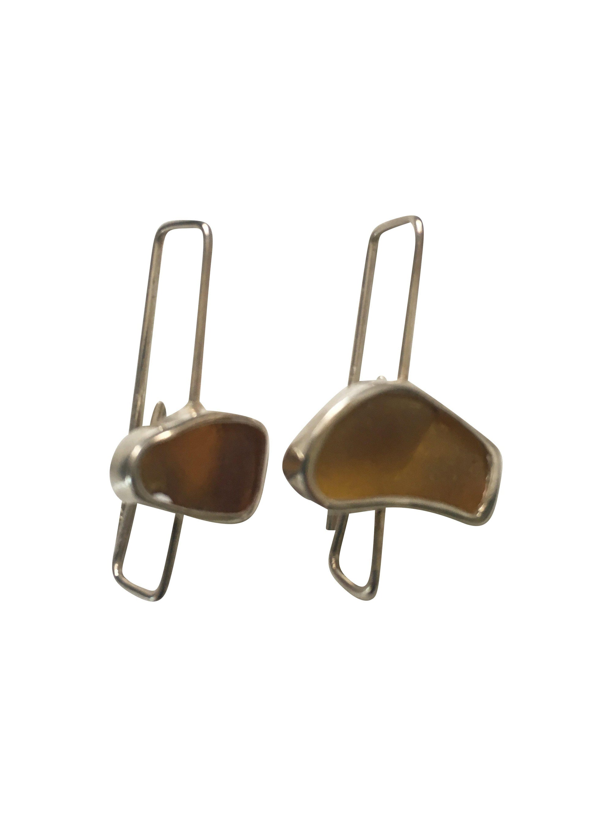 Terracotta Sterling Silver Paper Clip style Long Drop Earrings