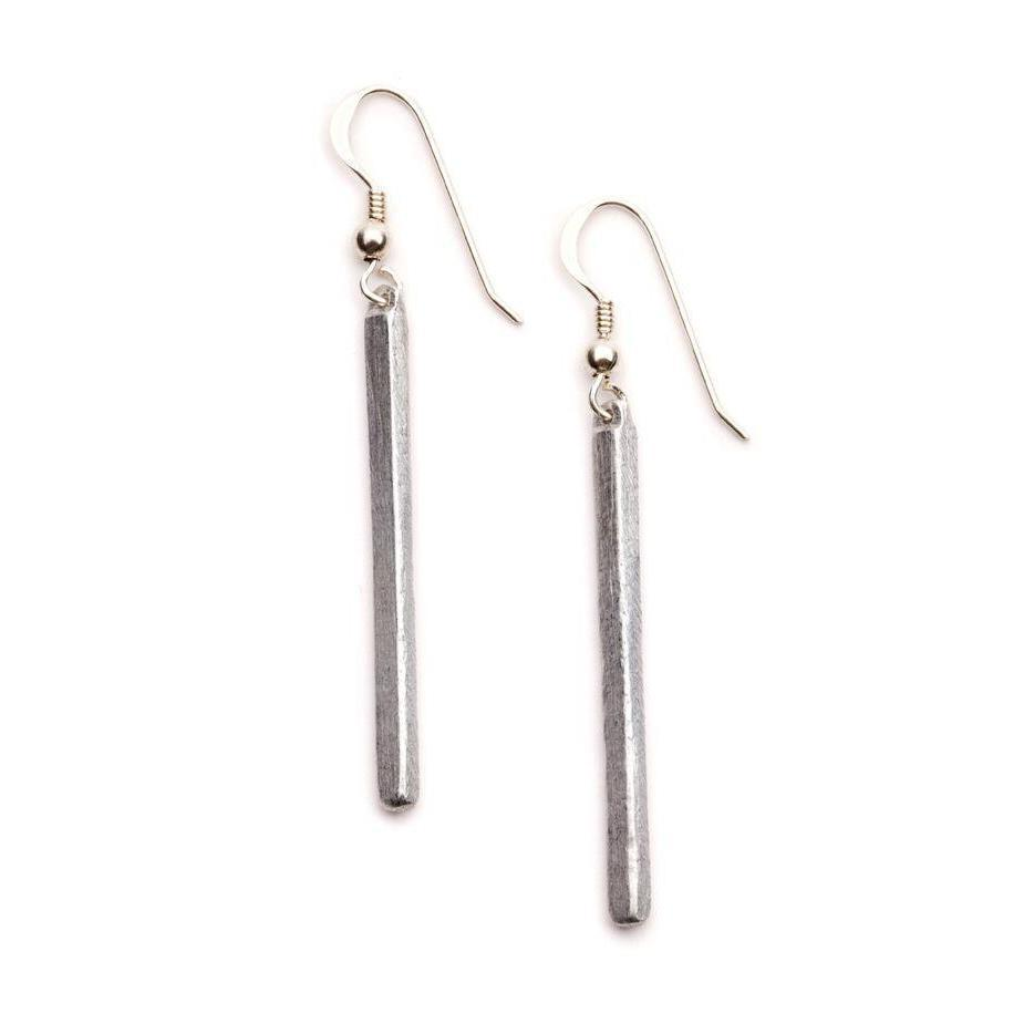 Thin Drop Sterling Silver Earrings-LOVEbomb-Temples and Markets
