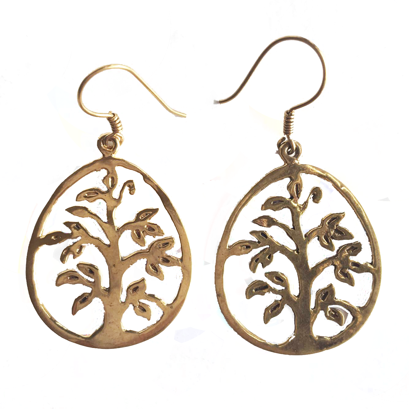 Tree of Life Brass Drop Earrings-Angkor Bullet Jewellery Cambodia-Temples and Markets