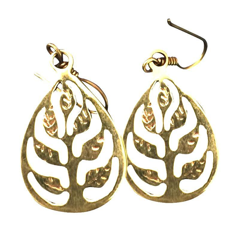 Tree of Life Delicate Brass Drop Earrings-Angkor Bullet Jewellery Cambodia-Temples and Markets