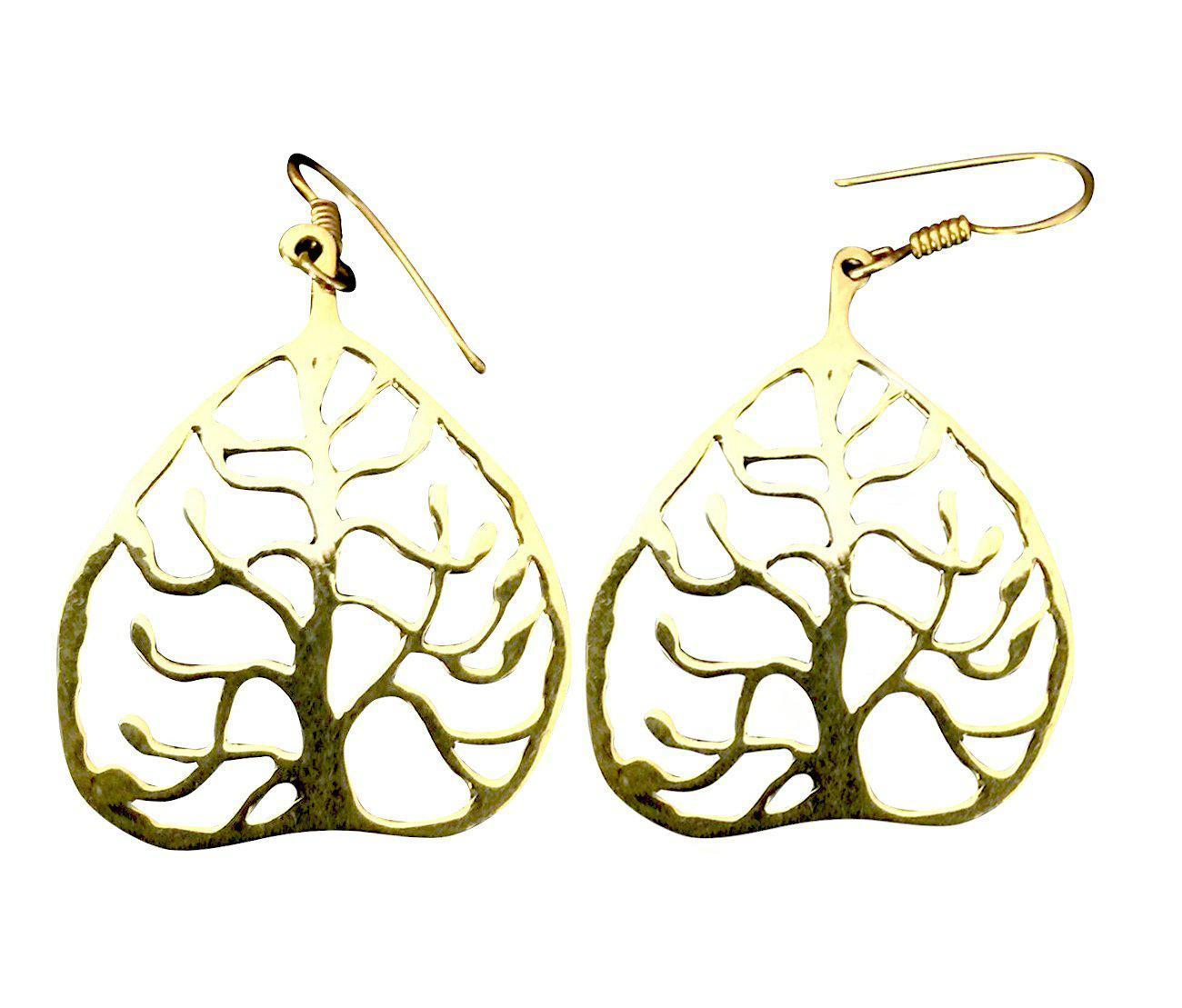 Tree of Life Triangular Shaped Brass Drop Earrings-Angkor Bullet Jewellery Cambodia-Temples and Markets