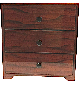 "Chest of 3 Drawers Lacquered Jewellery Box  - ""Tree bark"" design"