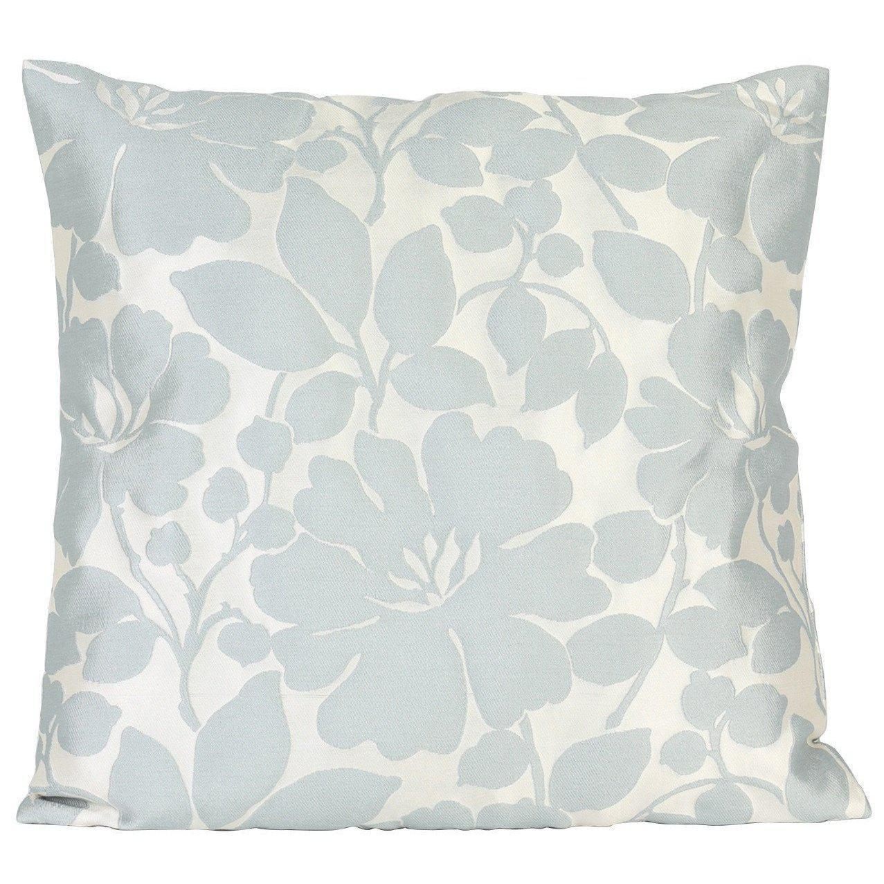 Turquoise Blue and Silver Floral Cushion Cover-ML Living-Temples and Markets