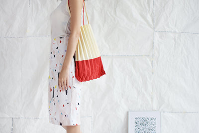 Two-Tone Pleated Canvas Shoulder Bag in a variety of two-tone colour combinations-Merrymetric Bags-Temples and Markets