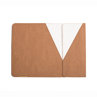 Two Tone Shugi Laptop Sleeve made from Washable Paper, an eco-friendly alternative to leather-Pretty Simple Bags-Temples and Markets