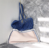 Two Toned Light Pink and Turquoise Neoprene and Crochet Bag-Merrymetric Bags-Temples and Markets