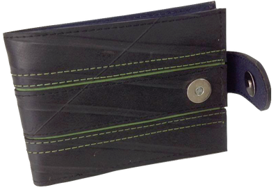 Upcycled Black and Green Wallet with Magnetic Closing made from Tyre-SmartCraft Khmer-Temples and Markets