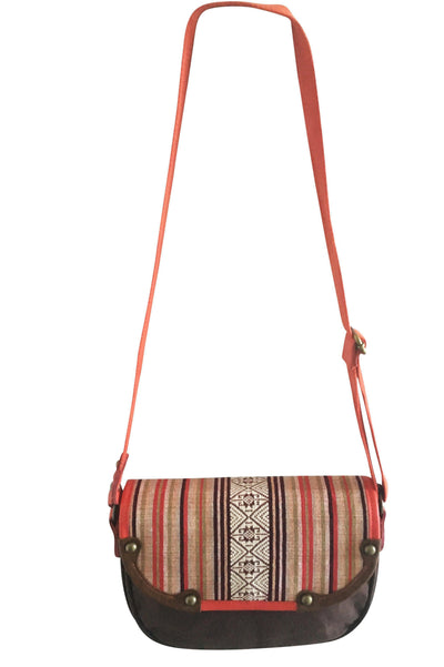 Valerie Cordier Claudio Ha Giang Coral and Brown Saddle Shoulder Bag-Valerie Cordier-Temples and Markets