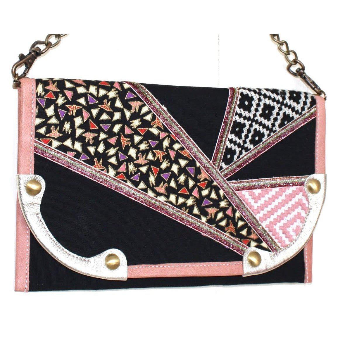 Valerie Cordier Donatello Eldorado Pink and Black Clutch Bag-Valerie Cordier-Temples and Markets