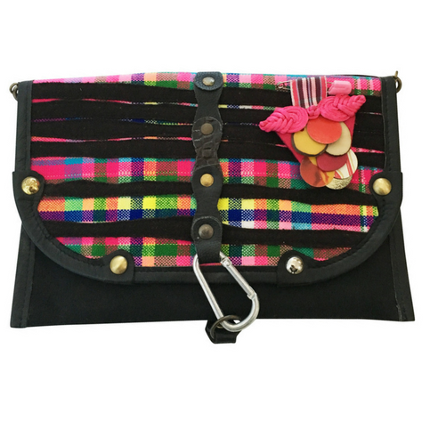 Valerie Cordier Donatello Sapa Black and Pink Clutch Bag-Valerie Cordier-Temples and Markets