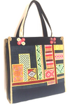 Valerie Cordier Juan Ha Giang Ethnic Fabric Black Tote Bag-Valerie Cordier-Temples and Markets