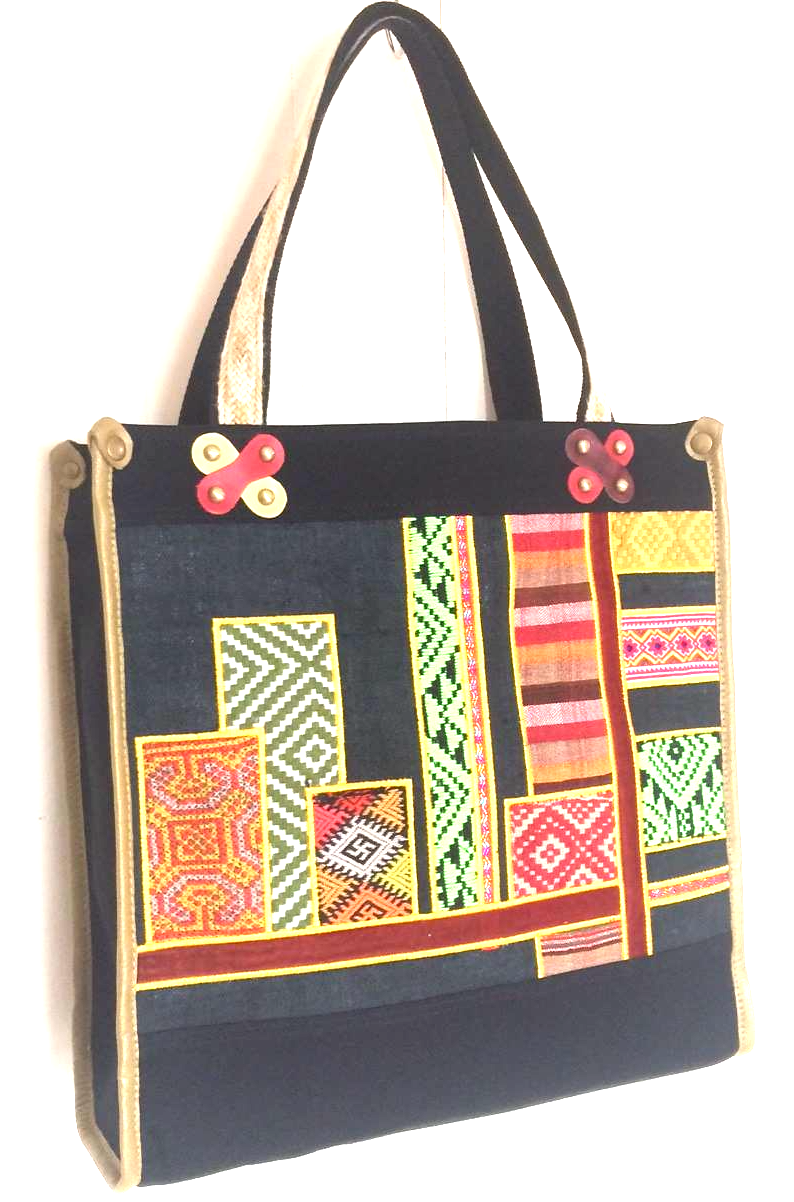 Valerie Cordier Juan Ha Giang Ethnic Fabric Black Tote Bag