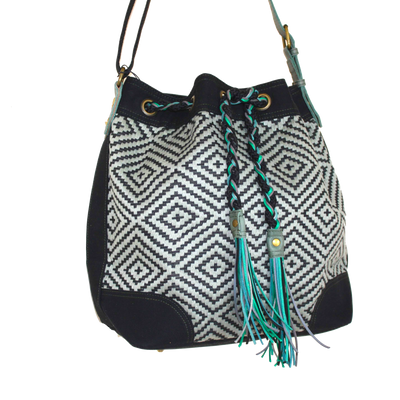 Valerie Cordier Luis Mai Chau Black and Green Bucket Bag-Valerie Cordier-Temples and Markets