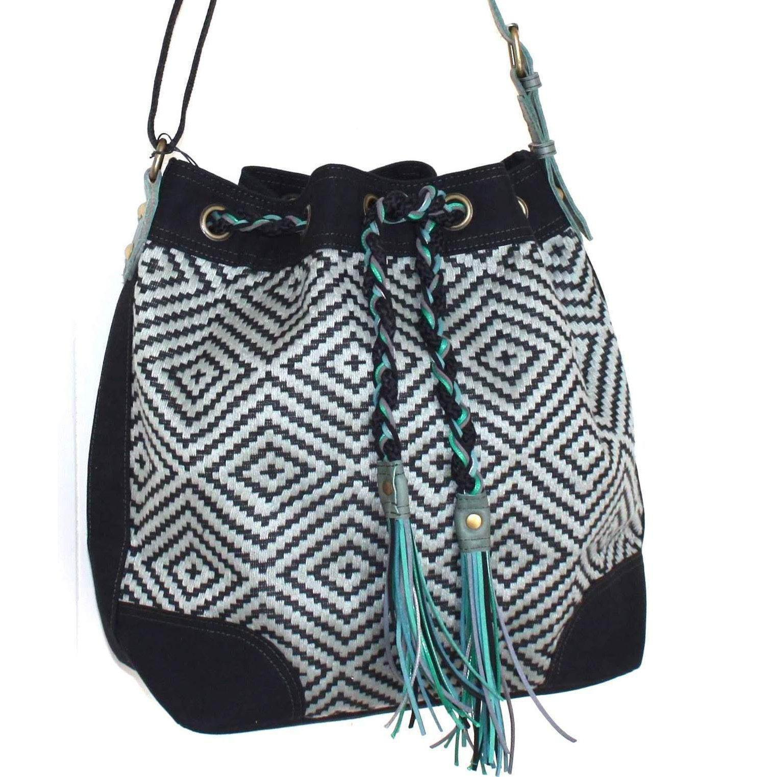 Valerie Cordier Luis Mai Chau Black and Green Bucket Bag