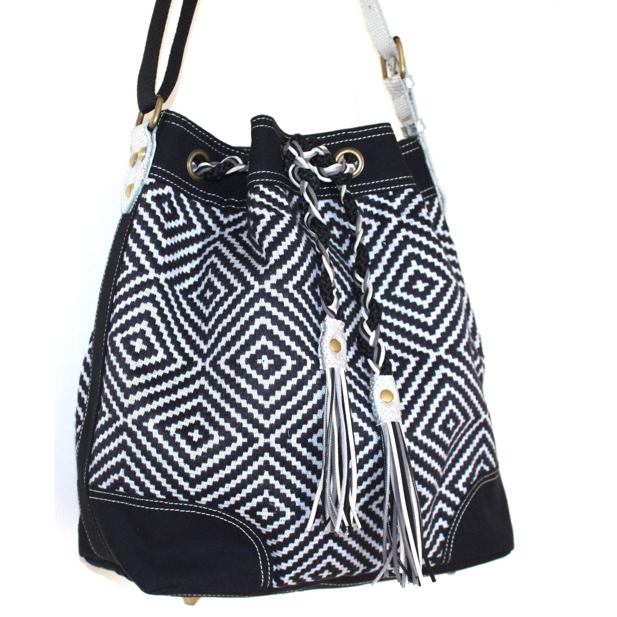 Valerie Cordier Luis Mai Chau Black and Grey Bucket Bag-Valerie Cordier-Temples and Markets