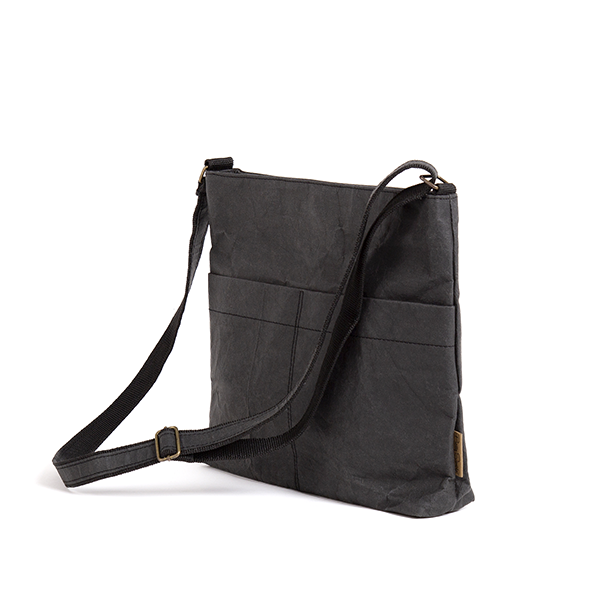 Vanvan Black Cross Body Bag made from Washable Paper, an eco-friendly alternative to leather