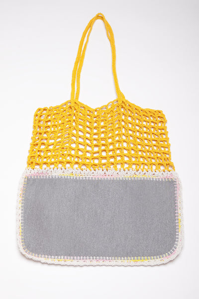 Yellow and Grey Crochet and Neoporene Bag - Handmade for Australia-Merrymetric Bags-Temples and Markets