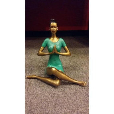 Yoga Lady Bronze and Green Figurine in a variety of poses-BIG SMILE HOMEWARES-Temples and Markets