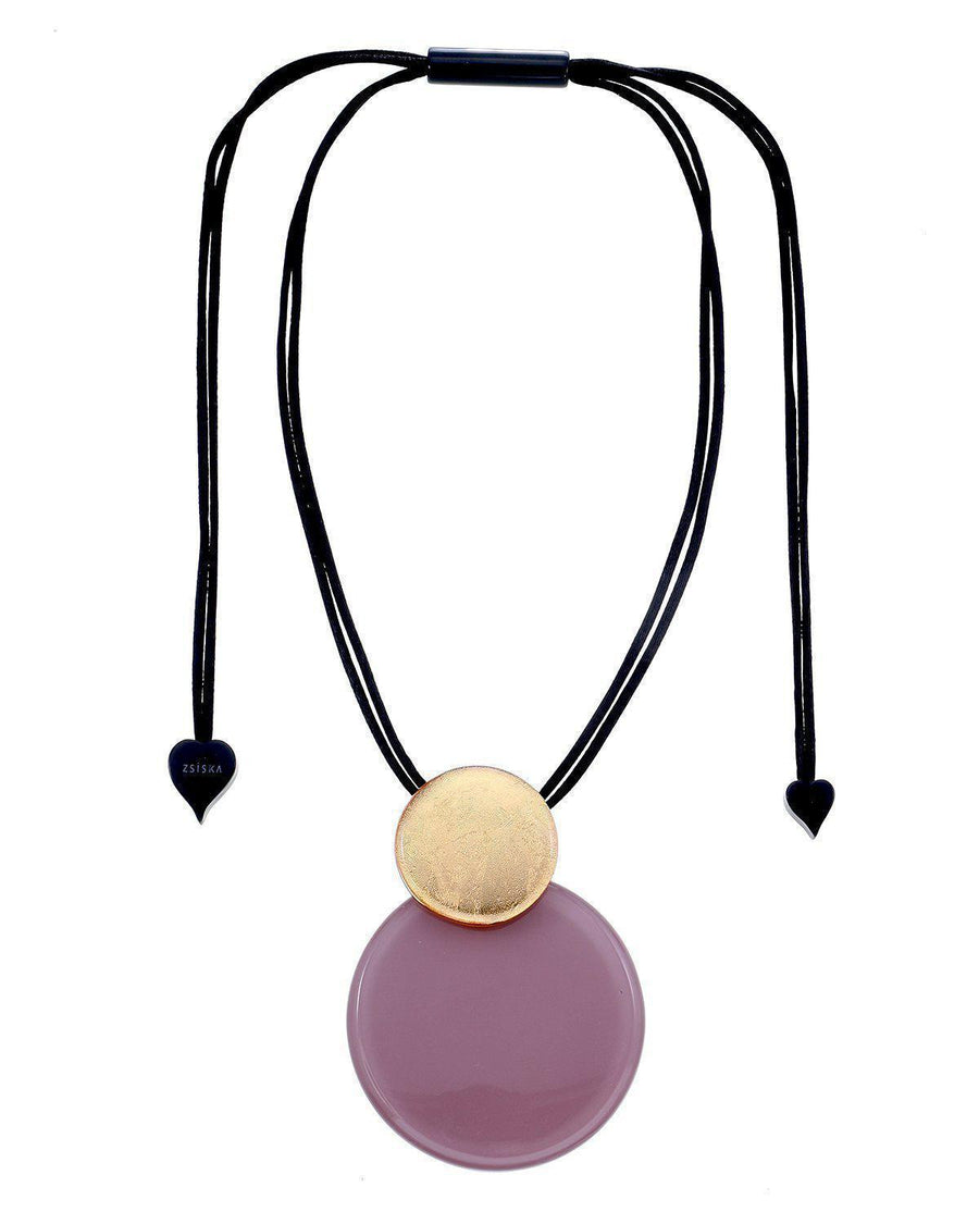 Zsiska A Round Gold and Mauve Circular Pendant-Jewellery-Zsiska-Temples and Markets