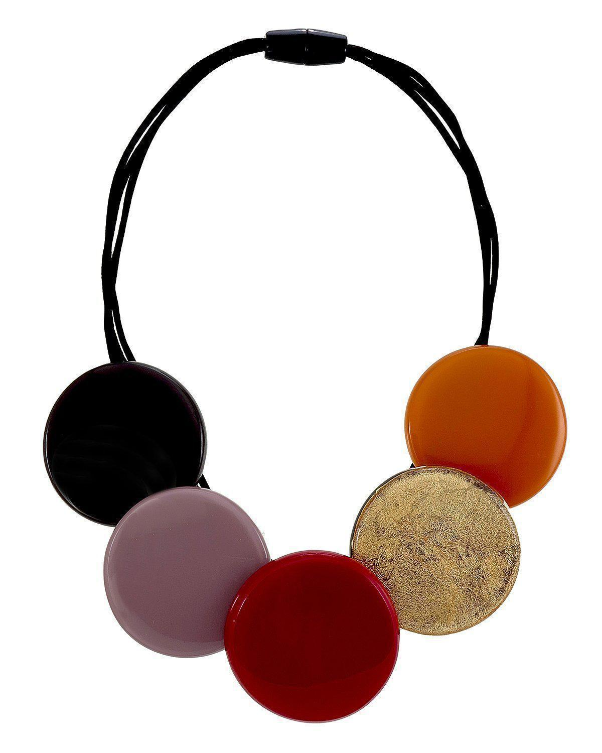 Zsiska A Round Red, Mauve and Gold Short Necklace - choose small or large circles