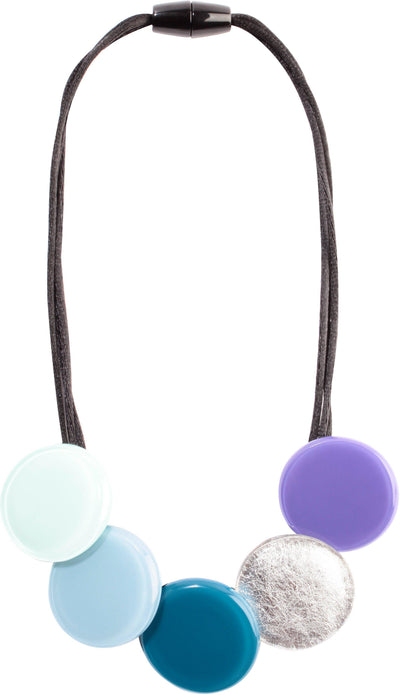 Zsiska A Round Teal, Aqua and Silver Short Necklace-Jewellery-Zsiska-Temples and Markets