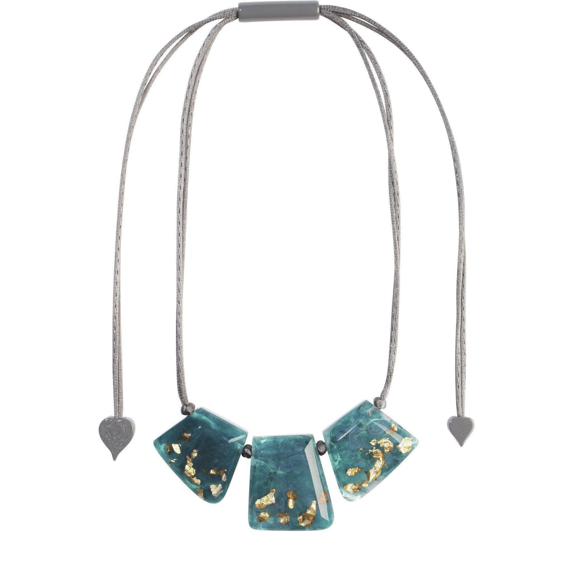 Zsiska Autumn Teal Blue Necklace