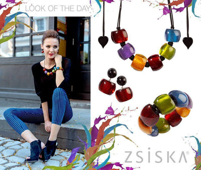 Zsiska Bellissima Multi-Coloured Beaded Adjustable Necklace-Jewellery-Zsiska-Temples and Markets