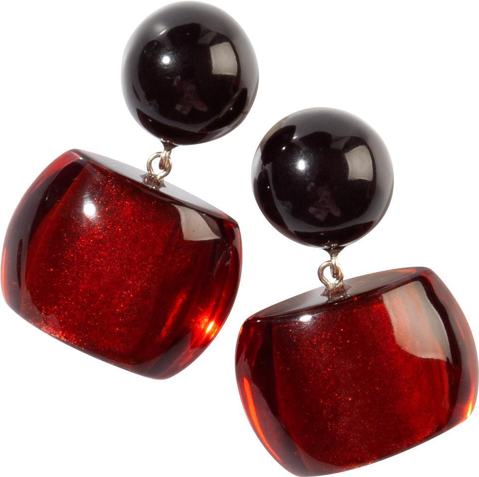 Zsiska Bellissima Red and Black Bead Drop Earrings-Jewellery-Zsiska-Temples and Markets