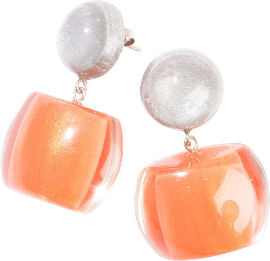 Zsiska Bellissima Two Tone Drop Earrings - Grey and Orange-Jewellery-Zsiska-Temples and Markets