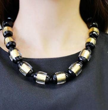 Zsiska Black and Gold Minimal Beaded Necklace-Zsiska-Temples and Markets