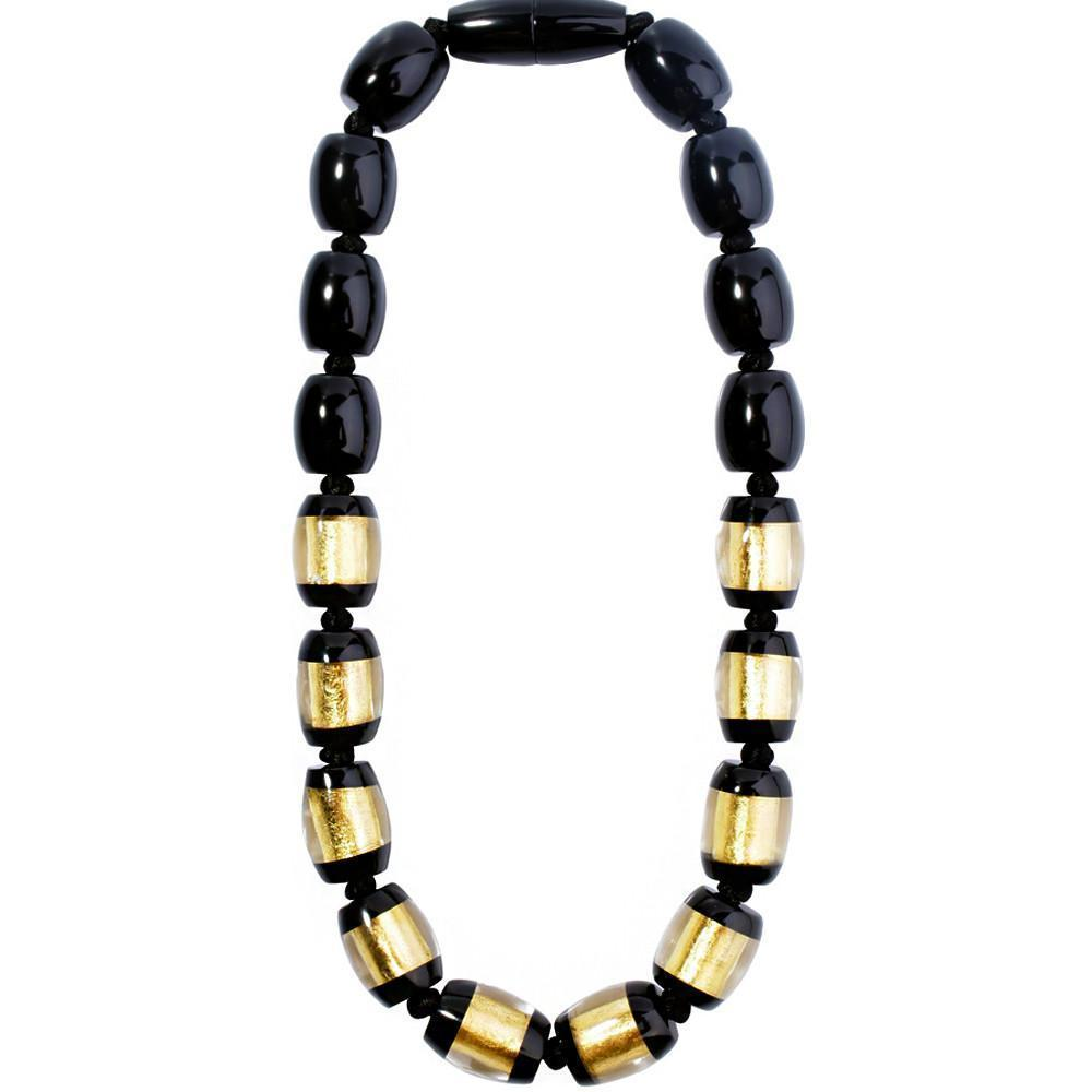 Zsiska Black and Gold Minimal Beaded Necklace-Jewellery-Zsiska-Temples and Markets