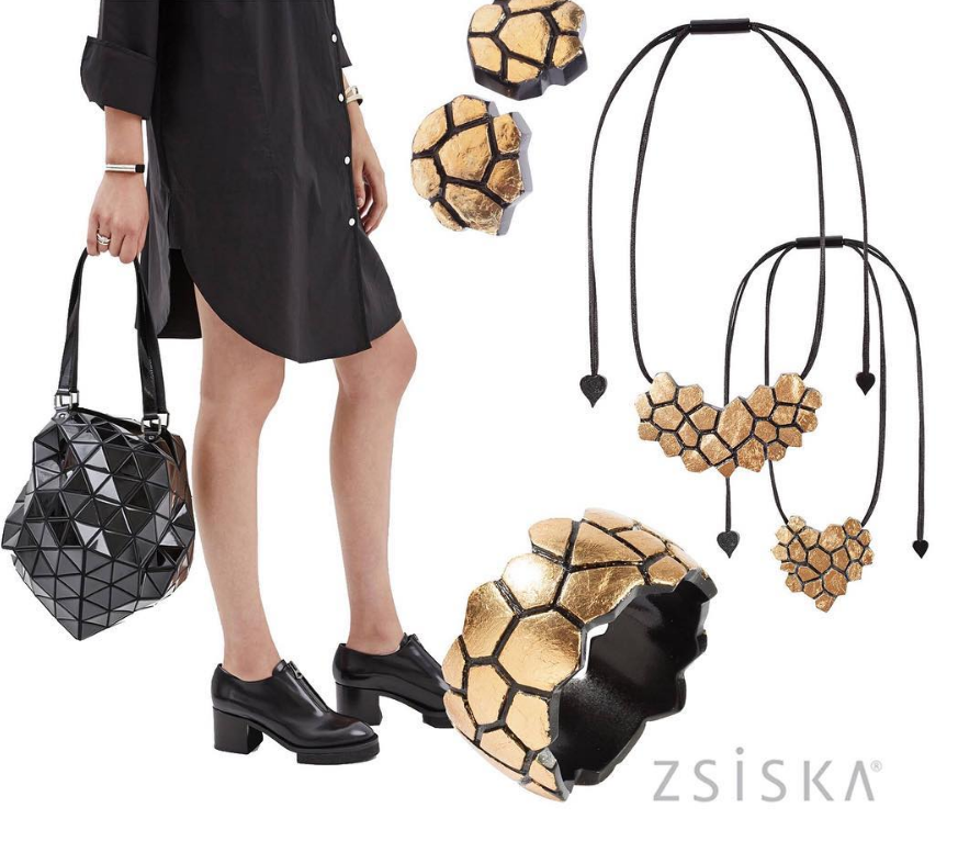 Zsiska Blocks Gold Drop Earrings-Jewellery-Zsiska-Temples and Markets